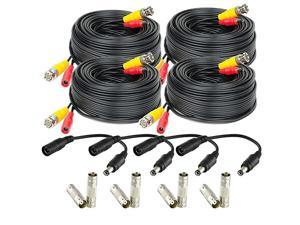 4-Pack 60 Feet Pre-Made All-in-One Siamese BNC Video and Power CCTV Security Camera Cable with Two Female Connectors for 960H & HD-CVI Camera and DVR (SCABLEHD60B-4pack)