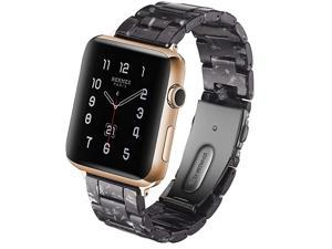 Resin Strap Compatible with Apple Watch Band 38mm 40mm 42mm 44mm Series 5/4/3/2/1,Ladies and Men Fashionable Resin SmartWatch Band,iWatch Replacement Wristband with Stainless Metal Steel Strap