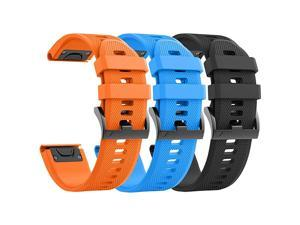Compatible with Fenix 5 Bands Easy Fit Soft Silicone Watch Bands Replacement for Fenix 6Fenix 6 ProForerunner 935Fenix 5 Plus Smartwatches Black Orange Blue