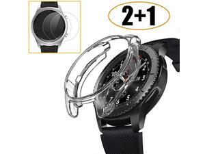 Pack Compatible Samsung Galaxy Watch 46mm Gear S3 Case Cover with Screen Protector Soft TPU Plated Protective Bumper Shell + Tempered Glass Screen Protector Film for Gear S3 FrontierClassic
