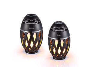2 Pack Led Flame Table lamp Torch Atmosphere Bluetooth SpeakersOutdoor Portable Stereo Speaker with HD Audio and Enhanced BassLED flickers Warm Yellow Lights BT42 for iPhoneiPadAndroid