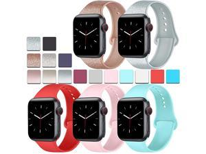 Pack Silicone Bands Compatible for Apple Watch Bands 38mm 40mm Sport Band Compatible for iWatch Series 6 4 3 SELight BlueShine RosegoldShine SilverOrange redPink 38mm40mmML