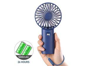 Portable Fan Handheld  Small USB Fan 5000mAh Rechargeable Personal Desk Fan 726 Hours Long Working Time with 3 Speeds amp Hand Rope for Home Office Outdoor Travel Camping MakeupNavy Blue