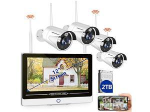 8CH Expandable All in One with 12 LCD Monitor 1080P Wireless Security Camera System 2TB Hard Drive  Indoor Outdoor Home Business CCTV Surveillance Systems4pcs 20MP Bullet IP CamerasIP66