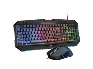 Backlit Keyboard and Mouse Combo LED Wired Gaming Keyboard Ergonomic Keyboard Wrist Rest Keyboard with Efficient Multimedia Keys Programmable Gaming Mouse for Mac PC Sega Game Gear Games