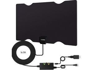Amplified Indoor HD Digital TV Antenna, Long 180 Miles Range,Support 4K 1080p and All Older TV's, Digital Antenna Amplifier Signal Booster-17ft Coax HDTV Cable,Freeview Life Local Channels