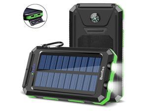 Solar Charger 20000mAh,  Ultra Durable Solar Power Bank with 2 USB Output 2 LED Flashlight and Compass, Waterproof Solar Cell Phone Charger for Outdoor Activities/Emergency (Green)