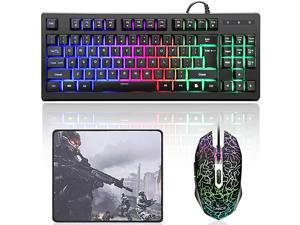 87 Keys Gaming Keyboard and Colorful Mouse ComboUSB Wired Backlit Mechanical Feeling Gaming Keyboard and Gaming Mouse for Laptop PC Computer Game and Work