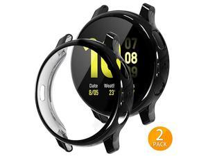 2 Pack  Compatible with Samsung Galaxy Watch Active 2 Screen Protector Case 44mm 40mm Soft TPU Bumper Full Around Cover for Samsung Galaxy Watch Active2 44 40 ClearRose Gold