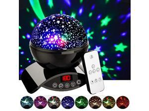 Night Lights Rechargeable Star Projector with Remote Control and Timer Auto Off Design Rotating Projection Lighting Lamp Room Decor Black