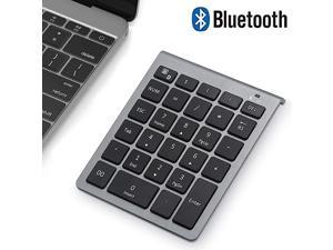 Bluetooth Numeric Keypad Wireless Number Pad  Slim Portable 28Keys Financial Accounting Data Entry External Numpad 10 Key for Laptop Tablets Surface Pro Windows Android etc Grey