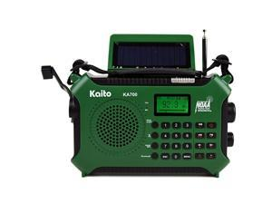 KA700 Bluetooth Emergency Hand Crank Dynamo Solar Powered AM FM Weather NOAA Radio with Recorder and MP3 Player Rugged Design for Hiking Camping Construction Sites EtcGreen