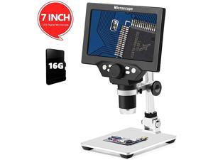 LCD 7 Inch Digital Microscope 11200X Maginfication with 16G TF Card 12MP Camera Video Recorder with HD Screen Suitable for TeachingCircuit Boardsobserving AntiquesJewelry Identification
