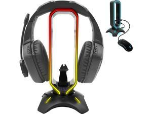 RGB Headset Stand and Gaming Headphone Stand Display with Mouse Bungee Cord Holder with USB 30 HUB for Wired or Wireless Headsets for Xbox PS4 PC