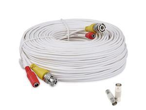 100 Feet Pre-Made All-in-One Siamese BNC Video and Power Cable Wire Cord with Two Female Extension Connectors for CCTV Security Camera & DVR (White)