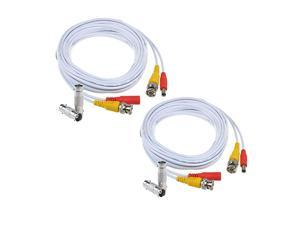 2-Pack 25ft HD Video Power Security Camera Cables Pre-Made All-in-One Extension Wire Cord with BNC Connectors for CCTV Security Camera (White)