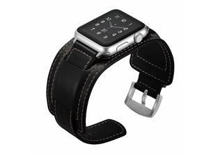 Watch Band Compatible with Apple Watch Band 42mm 44mm Series 5 4 3 2 1 Leather Band with Buckle Cuff Replacement iWatch Band Strap Fits 55 767 Black 42mm44mm