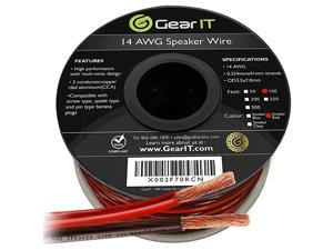 Pro Series 14AWG Speaker Wire 14 Gauge Speaker Wire Cable 100 Feet 30 Meters Great Use for Home Theater Speakers and Car Speakers Transparent BlackRed