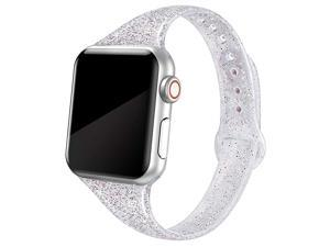 Sport Band Compatible with iWatch 38mm 40mm 42mm 44mm Shiny Bling Glitter Soft Slim Thin Narrow Small Replacement Silicone Strap Compatible for iWatch Series 54321 Sport Edition Women