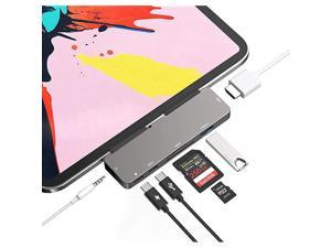 C HUB for iPad Pro 11 12.9 2021 2020 2018,iPad Air 4,7in1 iPad Pro Hub with 4K HDMI,3.5mm Headphone Jack,3.0,C PD Charging&Data,SD/Micro SD Card Reader,Adapter for iPad Pro