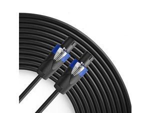Pro 50 Feet 12AWG Speakon to Speakon Cable Heavy Duty 50ft 12 Gauge Speaker Wire Cord with Twist Lock for Audio Amplifier Single