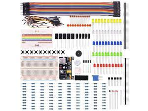 Electronic Fun Bundle Learning Kit for Arduino Raspberry pi with Breadboard Cable Resistor Capacitor LED Potentiometer 236 Items K66