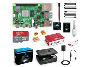 Raspberry Pi 4 8GB RAM Starter Kit with 128GB Micro SD Card Preloaded Raspberry Pi OS Raspbian Black Case Fan Micro HDMI Cable x 2 5V 3A USBC Power Supply 8GB RAM