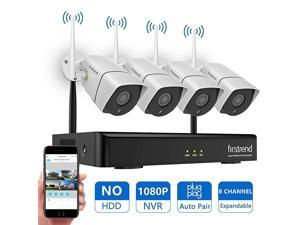 Newest Wireless Security Camera System  8CH 1080P Wireless NVR System with 4pcs 13MP IP Security Camera with 65ft Night Vision and Easy Remote ViewP2P CCTV Camera SystemNo Hard Drive