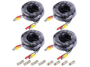 4 Pack 150ft Video Power Security Camera Extension Cable Wire for CCTV DVR 960H Security Cameras Surveillance System with BNC to RCA Adaptor