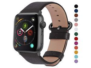Compatible Apple Watch Band 42mm 44mm 40mm 38mm Leather Compatible iWatch BandStrap Compatible Apple Watch SE Series 6 5 4 3 2 1 42mm 44mm Space Grey + Gunmetal Buckle