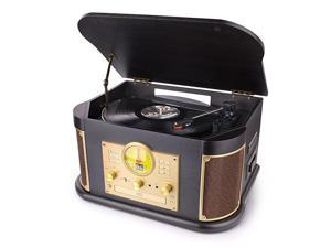 Bluetooth Record Player  Vintage Turntable 3Speed Vinyl Record Player with 2x9W SpeakersCDCassette TapeFM RadioUSB EncordingSD CardAux in Record Player