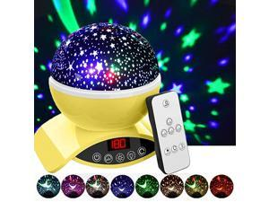 Night Lights Rechargeable Star Projector with Remote Control and Timer Auto Off Design Rotating Projection Lighting Lamp Room Decor Yellow