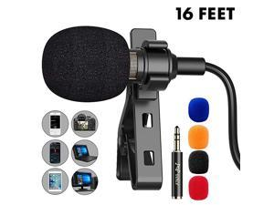 16 Feet Single Head Lavalier Lapel Microphone Omnidirectional Condenser Mic for iPhone Android & Windows Smartphones, YouTube, Interview, Studio, Video Recording, Noise Cancelling Mic