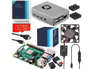 Raspberry Pi 4 Complete Starter Kit with Fan Cooled Heavy Duty Aluminum Alloy Case 2GB Ram Silver