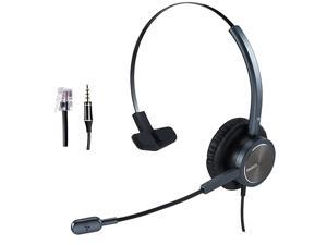 Center Headset with RJ9 Jack 35mm Connector for Landline Deskphone Cell Phone PC Laptop Office Business Telephone Headset with Noise Canceling Microphone for Polycom Avaya Nortel Aastra