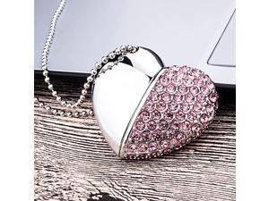 64GB HeartShape Pendant USB Flash Drive Cordiform USB20 Memory Stick Heart Flash Drive Pink