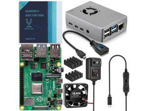 Raspberry Pi 4 Basic Starter Kit with Fan Cooled Heavy Duty Aluminum Alloy Case 8GB Silver