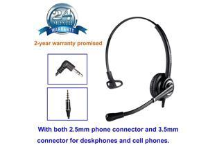 Headset with 25mm Jack Office Headset with Noise Canceling Mic for Cisco SPA Polycom Grandstream Panasonic Gigaset and Other Cordless Dect s Including 35mm Connector for Cell