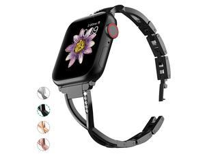 Compatible with Apple Watch Band 38mm 40mm with Case Women Bling Wristband for iWatch Series 5 4 3 2 1 Metal Stylish Strap Black