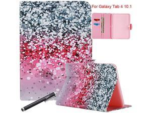 Galaxy Tab 4 10.1 Case, SM-T530 Case,  Magnetic Closure Slim-Fit Stand Case with Card/Money Slots for Samsung Galaxy Tab 4 10.1 inch (SM-T530NU) - Silver&Purple
