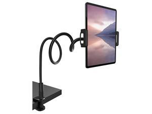 Gooseneck Tablet Mount Holder for Bed  Flexible Tablet Arm Clamp Bed Stand for 4711 Devices Such as iPad Mini 79 Air 97 Pro 10511 Switch Galaxy Tabs Black