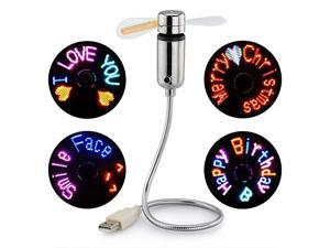 USB Fan with LED Display,  Small Personal Portable Programmable LED Fan, Funny USB Toy Gadgets Gifts for Men Women Office Home
