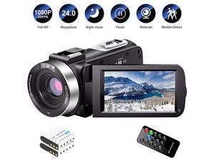 Camera Camcorder Full HD 1080P 30FPS 240 MP IR Night Vision Vlogging Camera Recorder 30 Inch IPS Screen 16X Zoom Camcorders YouTube Camera Remote Control with 2 Batteries