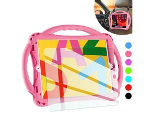 iPad 7th Generation Case for Kidswith Tempered Glass Screen Protector and StrapPremium Silicone Shockproof Apple New ipad 102 2019 Case Cover with Kickstand and Pencil Holder Pink