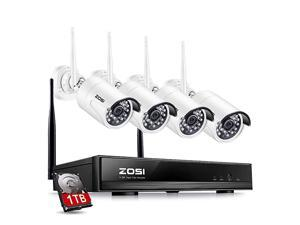 1080P Wireless Home Security Camera System FULL 1080P HD NVR With 1TB Hard Drive and 4pcs 20MP 1080P HD WiFi Indoor Outdoor Weatherproof Surveillance IP Cameras Night Vision Motion Detection