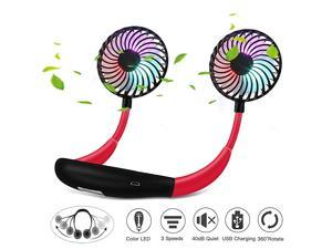 Free Portable Personal Fan Rechargeable Mini USB Fan Headphone Design Quiet Wearable Neckband Fan 3 Level Air Speeds 7 LED Lights 360 Degree Free Rotation for Home Office Travel Sports