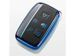 TM 5 Buttons Full TPU Smart keyless Entry Remote Key Fob case Cover for Land Rover Defender Discovery Sport LR3 LR4 Range Rover Sport Evoque VelarJaguar XF XJ XJL XE FPACE BlueBlack