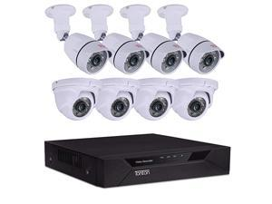 8CH Full HD 1080P Security Camera System, 5-in-1 Surveillance Video Recorder with 4PCS Outdoor Indoor Bullet Cameras and 4PCS Dome Cameras, Face Recognition and Night Vision(NO HDD)