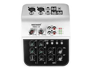 Mixing Console Compact Audio Sound 4-Channel Mixer for Condenser Microphone, with 48V Phantom Power 2 Band EQ 2-way Stereo Line Input RCA Input/Output 4 Band LED Level Indicator (NW02-1A)