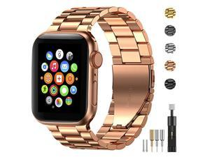 Stainless Steel Metal Band for Apple Watch 38404244mm Strap Replacement Link Bracelet Band Compatible with Apple Watch Series 6 Apple Watch Series 5 Apple Watch Series 1234Rose Gold4244mm